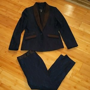 Chico's Black label Navy black lace pant suit 0/00